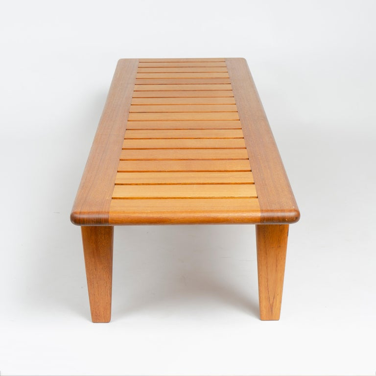 1950s Danish Solid Teak Slatted Bench by Hans J. Wegner for Johannes Hansen For Sale 1