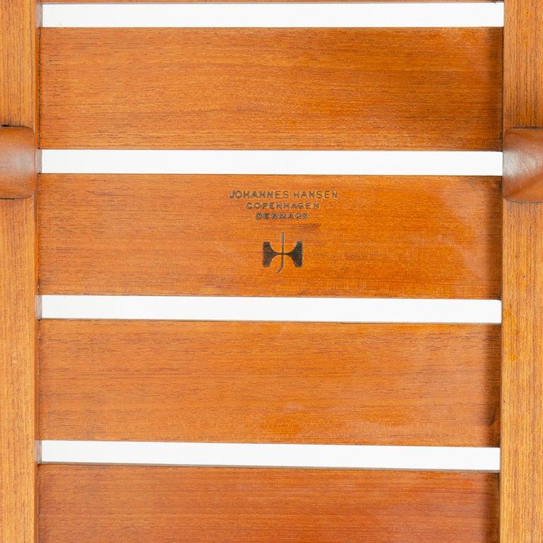 1950s Danish Solid Teak Slatted Bench by Hans J. Wegner for Johannes Hansen For Sale 2