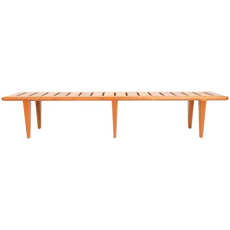 1950s Danish Solid Teak Slatted Bench by Hans J. Wegner for Johannes Hansen For Sale