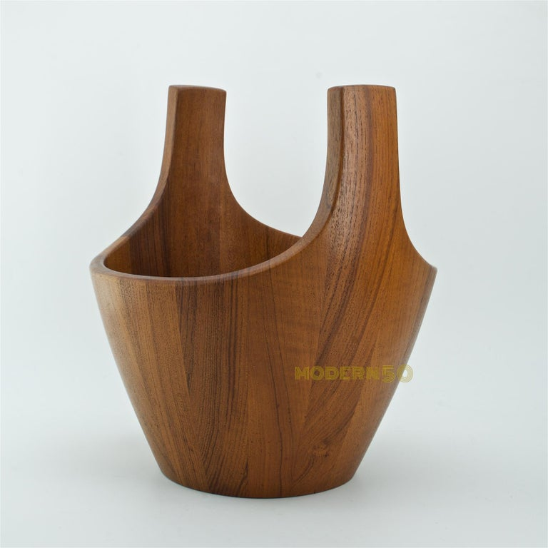 Oiled 1950s Danish Staved Teak Quaich Midcentury Winged Viking Bowl Centrepiece For Sale