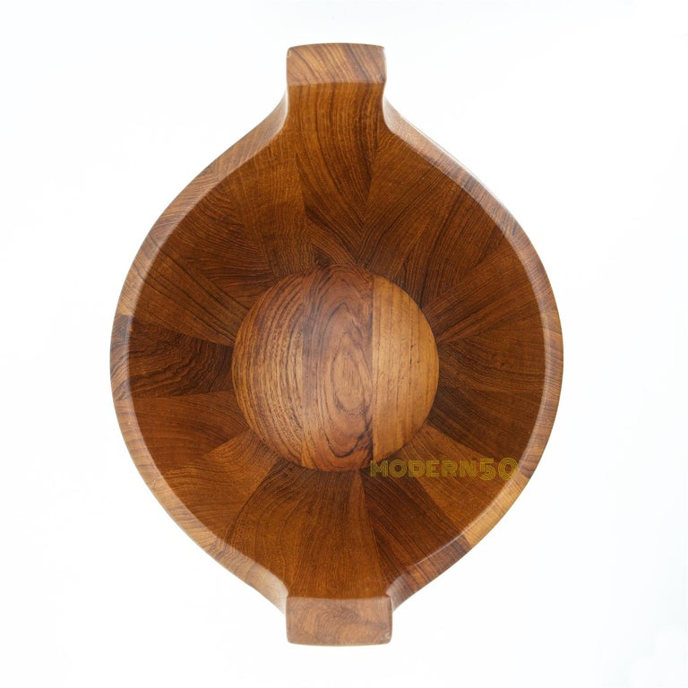 1950s Danish Staved Teak Quaich Midcentury Winged Viking Bowl Centrepiece In Good Condition For Sale In Washington, DC