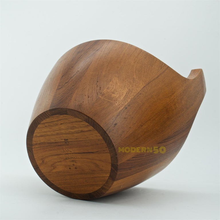 1950s Danish Staved Teak Quaich Midcentury Winged Viking Bowl Centrepiece For Sale 2