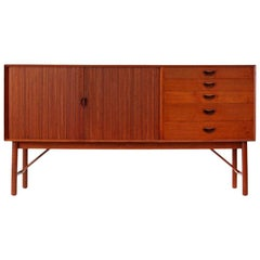 1950s Danish Tambour Credenza by Peter Hvidt and Mølgaard-Nielsen
