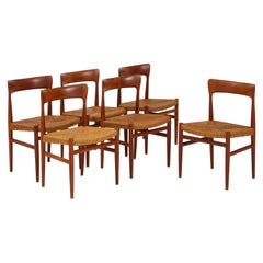 1950s Danish Teak Modernist Dining Chairs with Paper Cord Seats