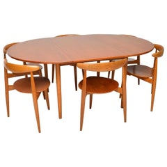 1950s Danish Teak & Oak Dining Table & Chairs by Hans Wegner for Fritz Hansen