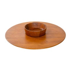 1950s Danish Teak Platter and Bowl by Jens Quistgaard for Dansk