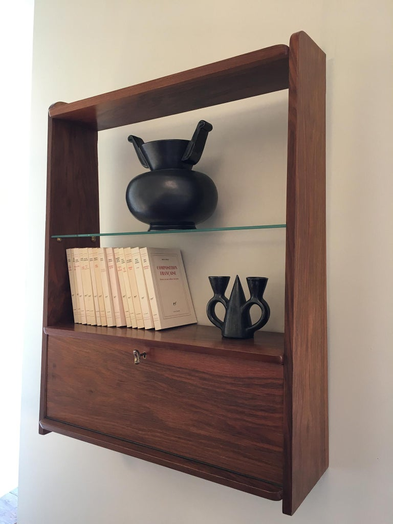 Mid-Century Modern 1950s Danish Walnut Wall-Mounted Shelf Cabinet For Sale