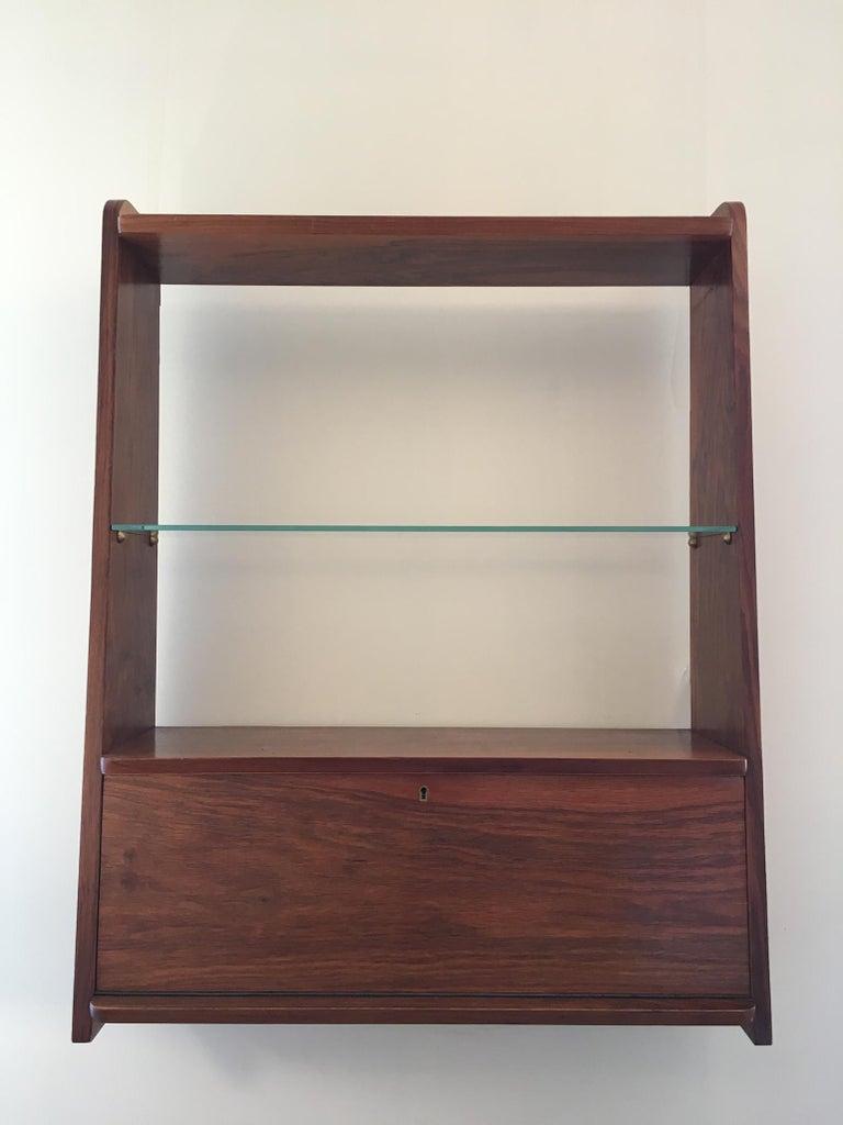 1950s Danish Walnut Wall-Mounted Shelf Cabinet For Sale 1
