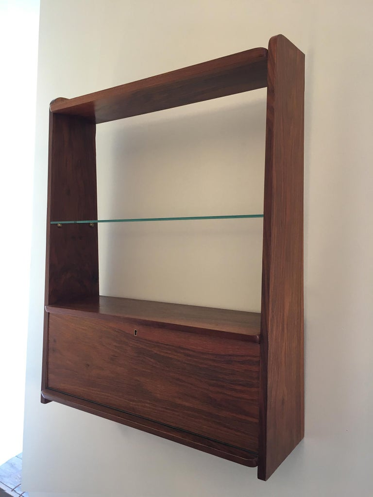 1950s Danish Walnut Wall-Mounted Shelf Cabinet For Sale 2
