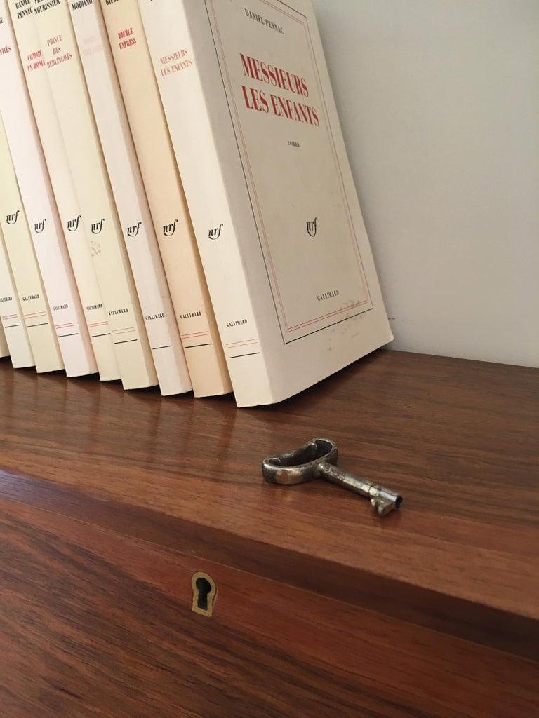 1950s Danish Walnut Wall-Mounted Shelf Cabinet For Sale 3