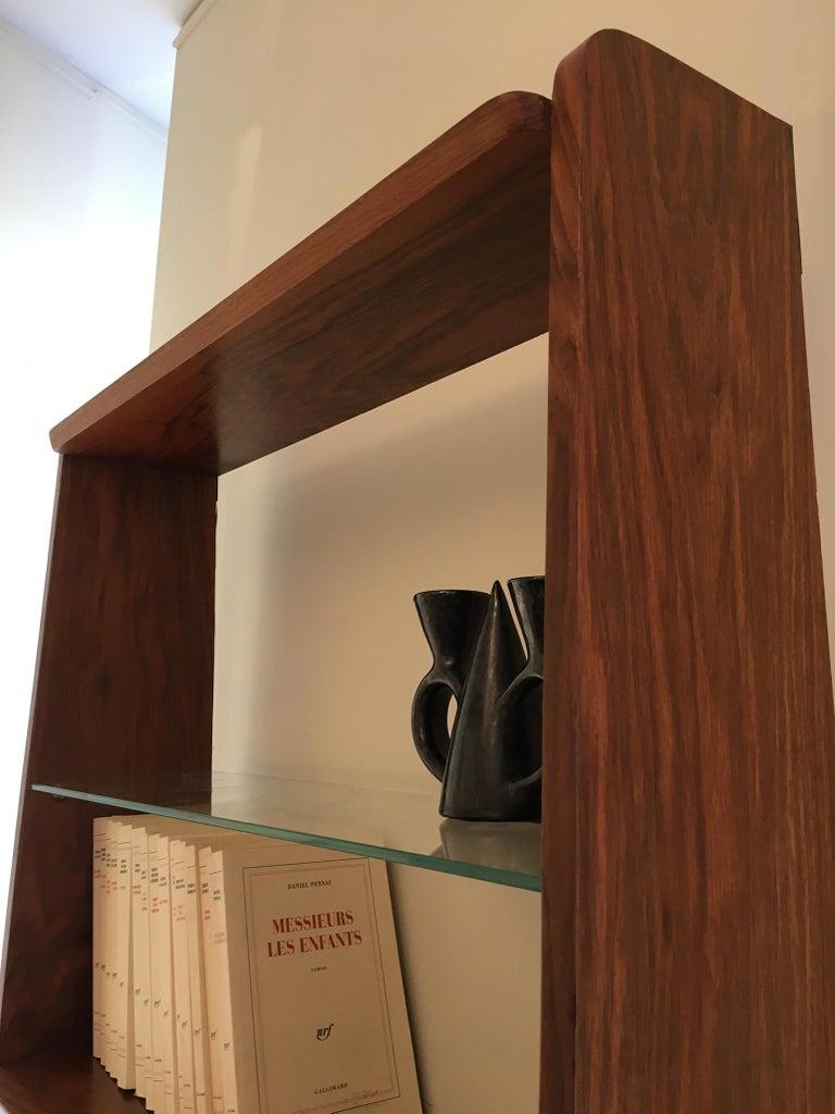 1950s Danish Walnut Wall-Mounted Shelf Cabinet For Sale 4