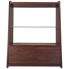 1950s Danish Walnut Wall-Mounted Shelf Cabinet
