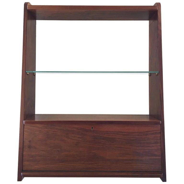 1950s Danish Walnut Wall-Mounted Shelf Cabinet For Sale