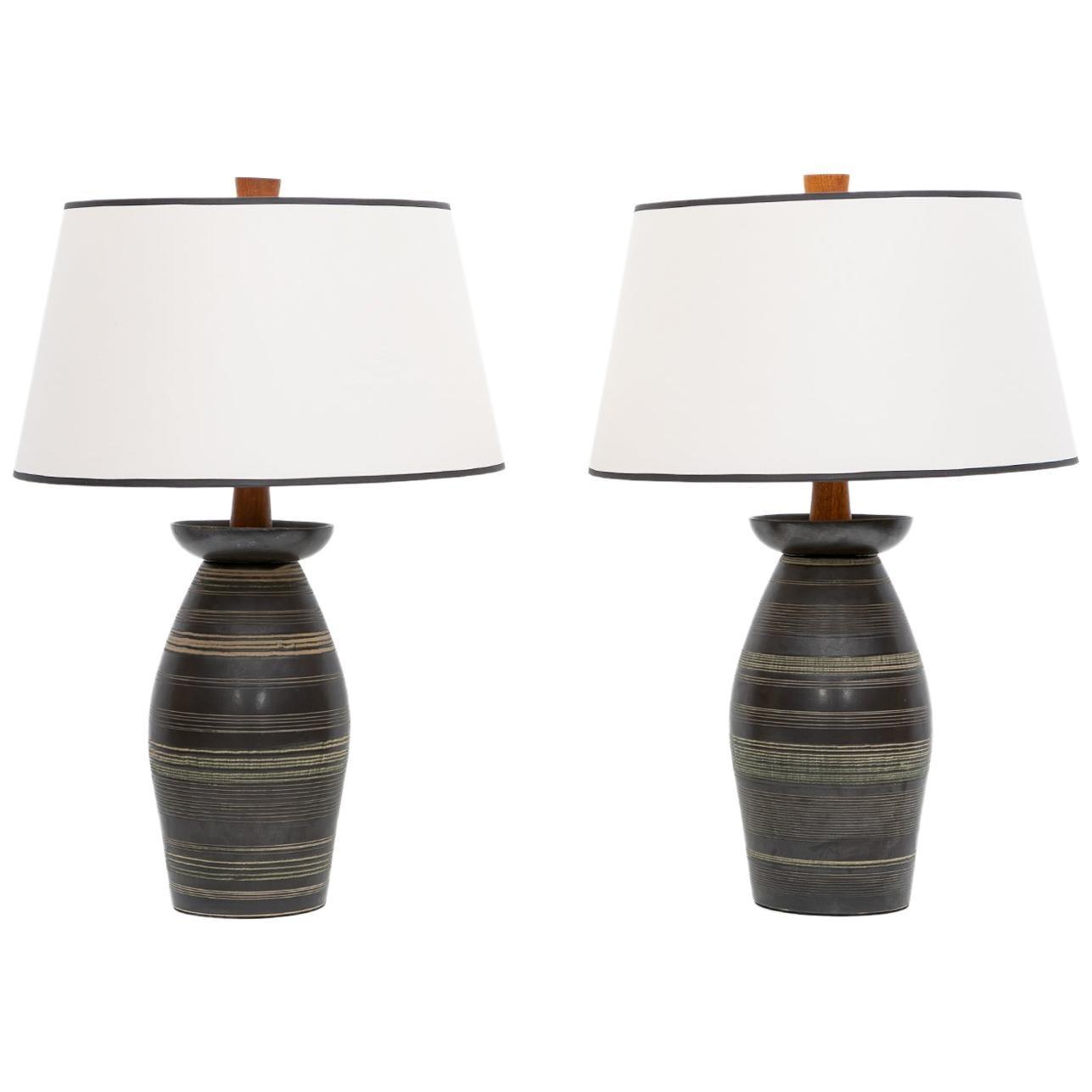 1950s Dark Brown Ceramic Pair of Table Lamp by Jane & Gordon Martz 'B'