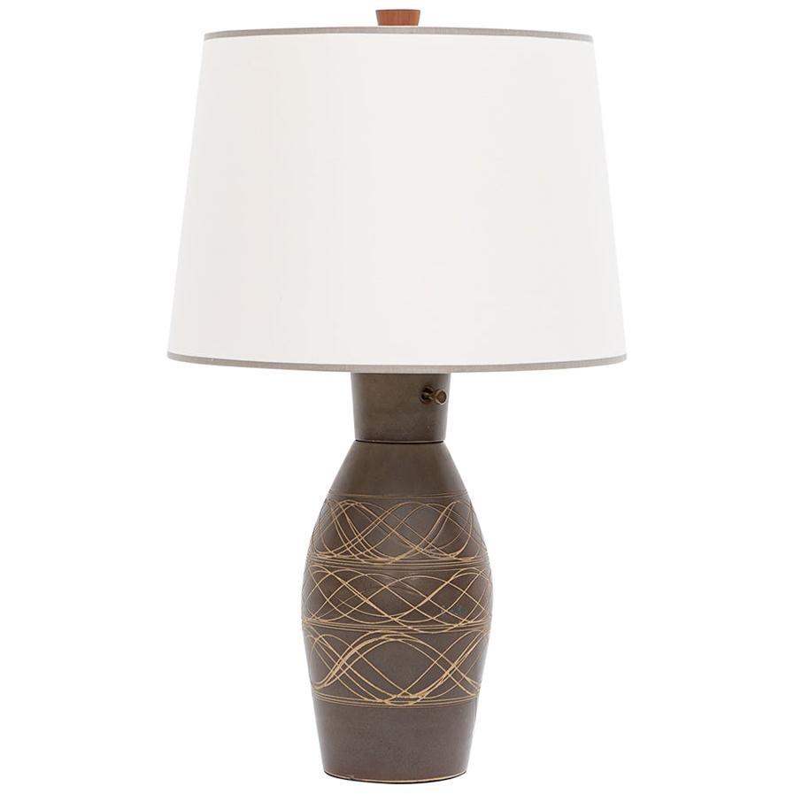 1950s Dark Brown Ceramic Table Lamp by Jane & Gordon Martz 'i'