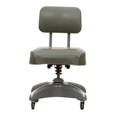1950s Dark Green Upholstery Swivel Chair by Globe Furniture