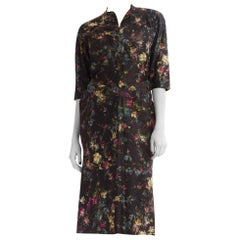 1950S Dark Grey Floral Silk Shantung Day To Night Dress With Belted Waist