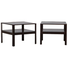 1950s Dark Mahogany Pair of Side Tables by Edward Wormley