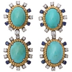 1950s Day to Night Turquoise Sapphire with Diamonds Gold Drop Earclips