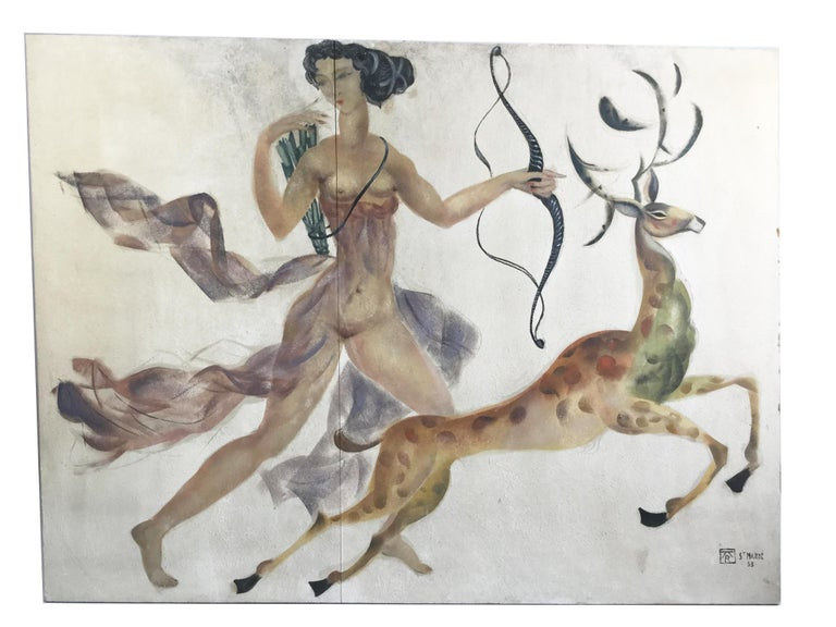 1950s Decorative Art Nude Painting on Masonite Panel in a Style of Art Deco For Sale 6