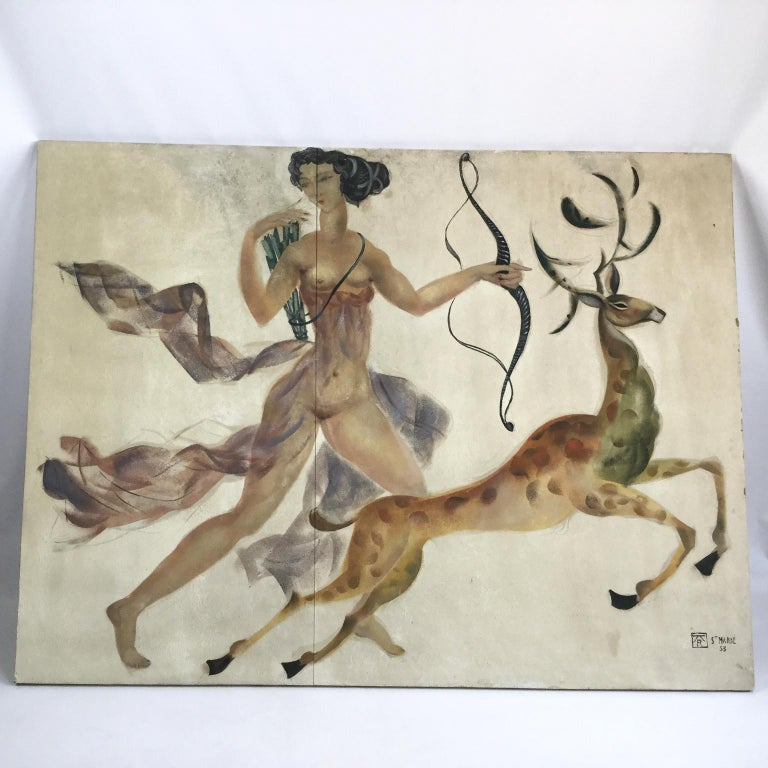 Wall decorative nude painting, on a large panel from the early 1950s in an Art Deco style. Representing the goddess
