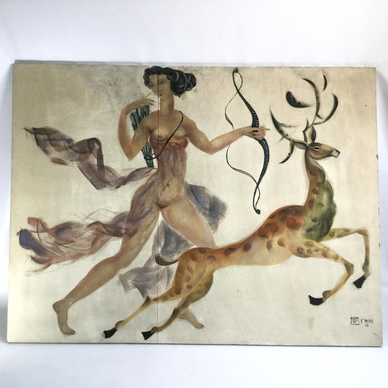 French 1950s Decorative Art Nude Painting on Masonite Panel in a Style of Art Deco For Sale
