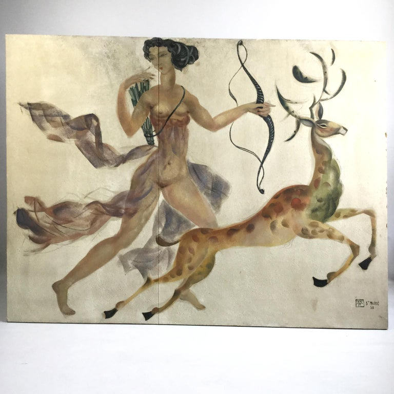 Hand-Painted 1950s Decorative Art Nude Painting on Masonite Panel in a Style of Art Deco For Sale