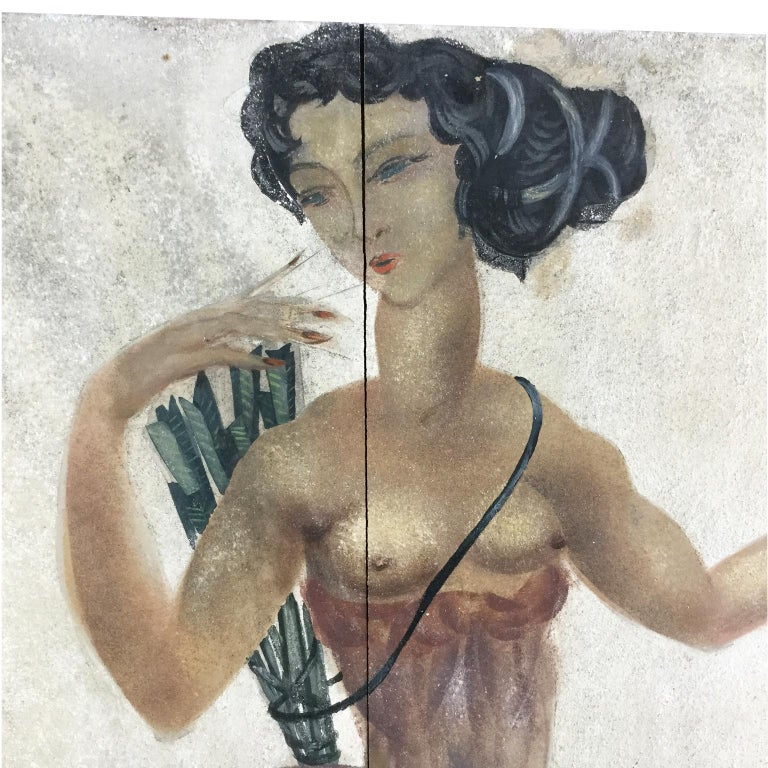 1950s Decorative Art Nude Painting on Masonite Panel in a Style of Art Deco In Good Condition For Sale In London, GB