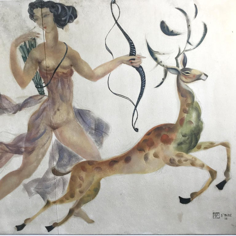 1950s Decorative Art Nude Painting on Masonite Panel in a Style of Art Deco For Sale 2