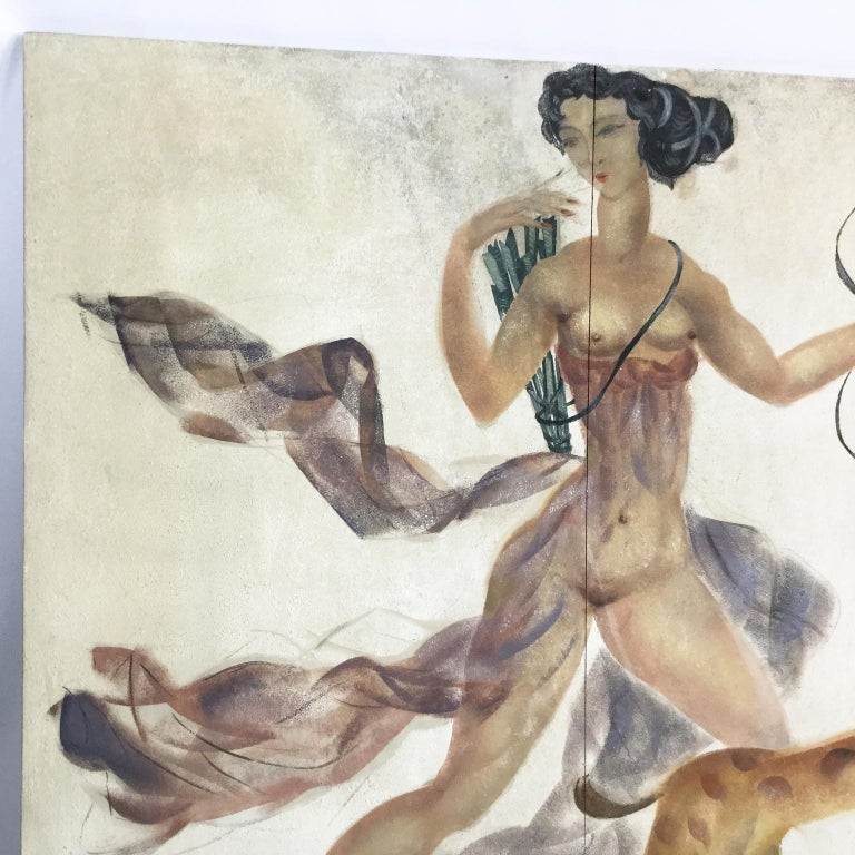 1950s Decorative Art Nude Painting on Masonite Panel in a Style of Art Deco For Sale 3