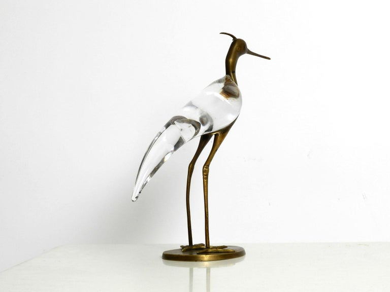 Mid-Century Modern XL Mid Century Modern brass and glass bird heron  Luca Bojola for Licio Zanetti For Sale