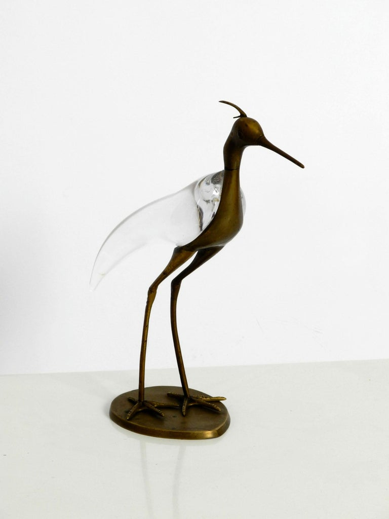 European XL Mid Century Modern brass and glass bird heron  Luca Bojola for Licio Zanetti For Sale