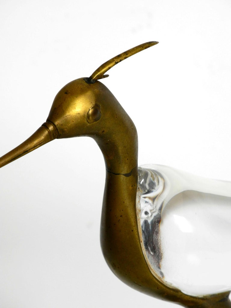 Brass XL Mid Century Modern brass and glass bird heron  Luca Bojola for Licio Zanetti For Sale