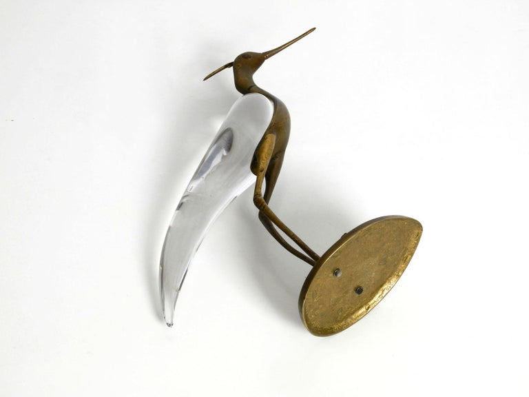 XL Mid Century Modern brass and glass bird heron  Luca Bojola for Licio Zanetti For Sale 2