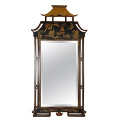 1950s Decorative Chinoiserie Hand Painted Asian Style Mirror