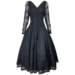 1950s Demi Couture Black Chantilly Lace Beaded Fit n' Flare Vintage 50s Dress