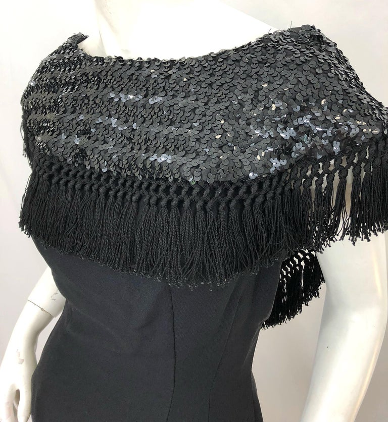 1950s Demi Couture Black Silk Crepe Dramatic Sequin Neck Fringe Vintage Dress For Sale 6