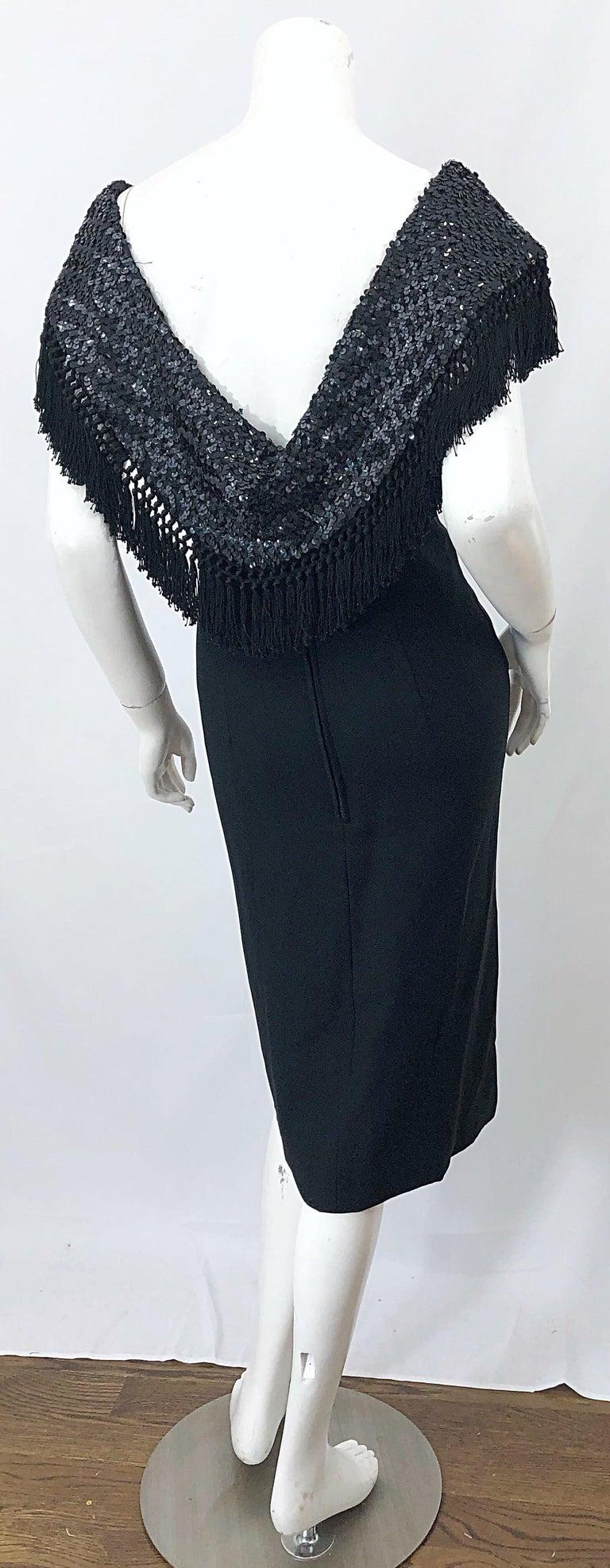 1950s Demi Couture Black Silk Crepe Dramatic Sequin Neck Fringe Vintage Dress For Sale 7