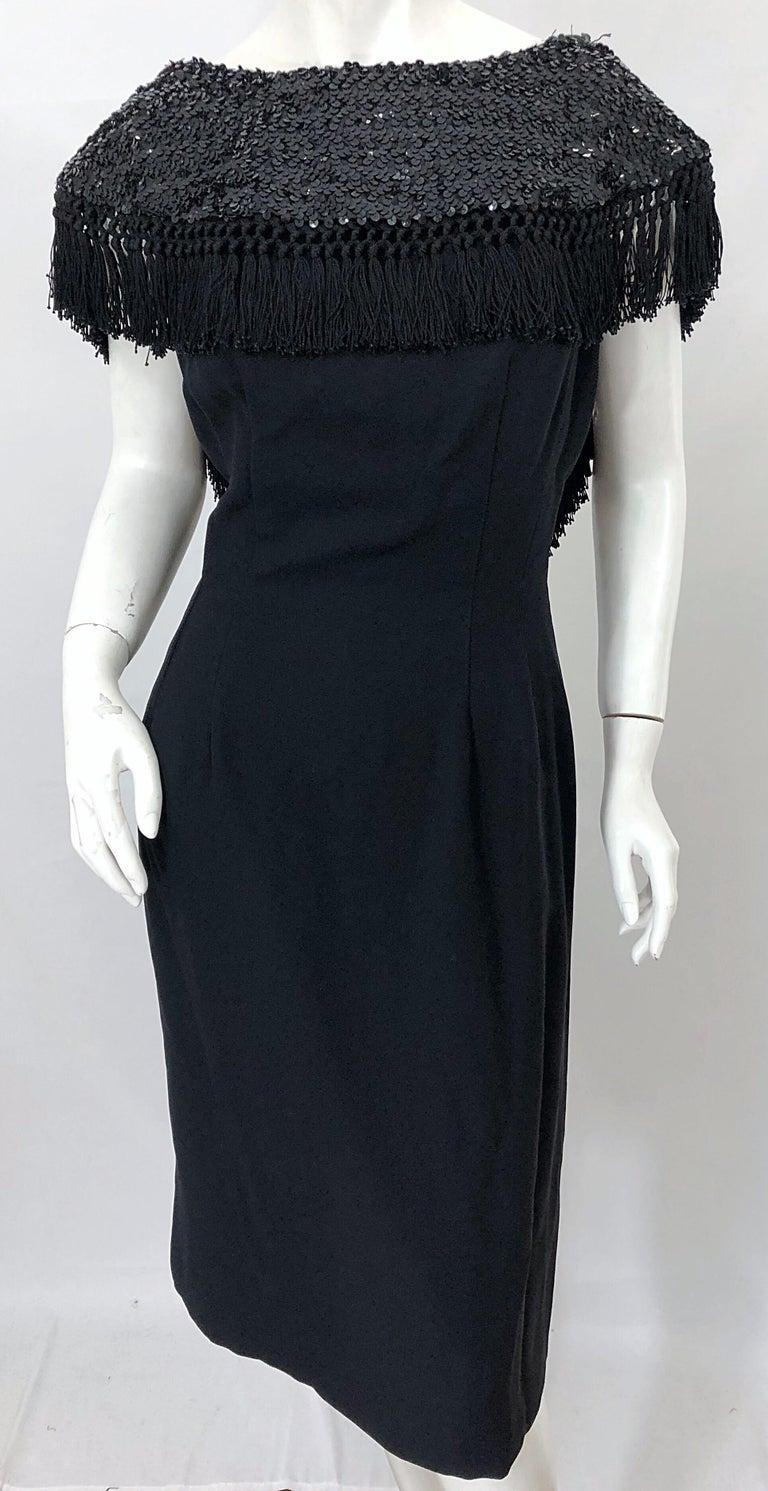 1950s Demi Couture Black Silk Crepe Dramatic Sequin Neck Fringe Vintage Dress For Sale 8