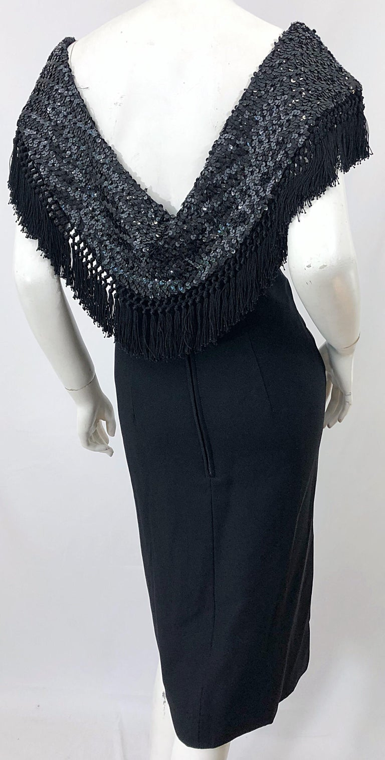 1950s Demi Couture Black Silk Crepe Dramatic Sequin Neck Fringe Vintage Dress In Excellent Condition For Sale In Chicago, IL