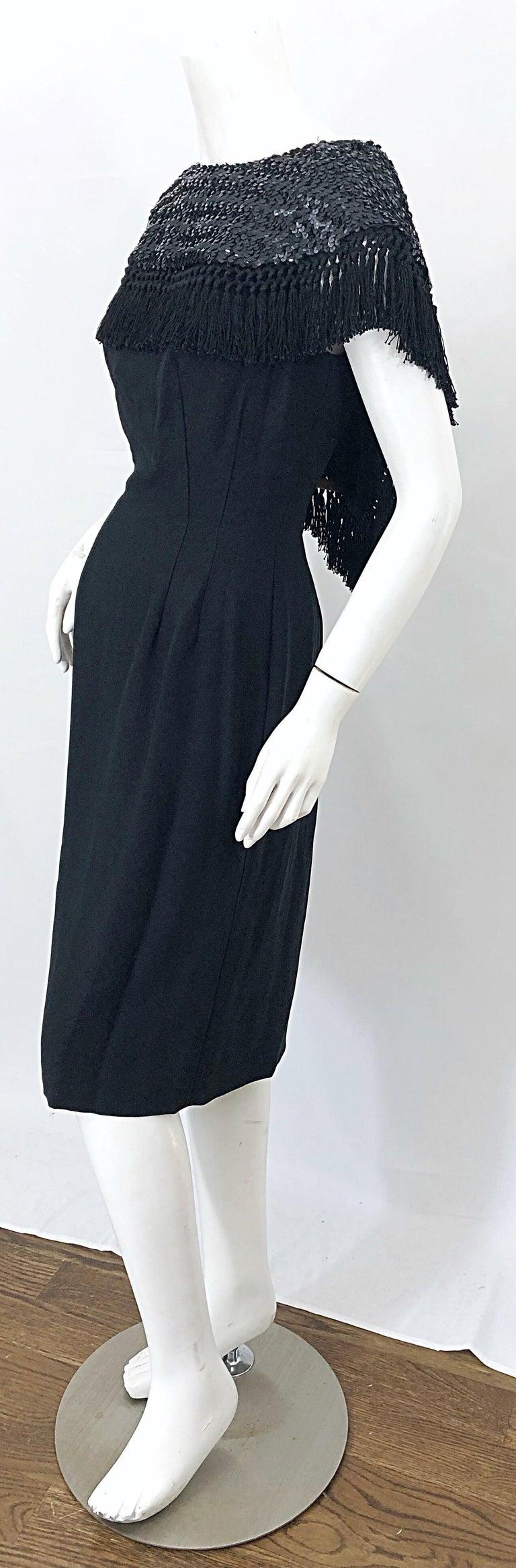 Women's 1950s Demi Couture Black Silk Crepe Dramatic Sequin Neck Fringe Vintage Dress For Sale