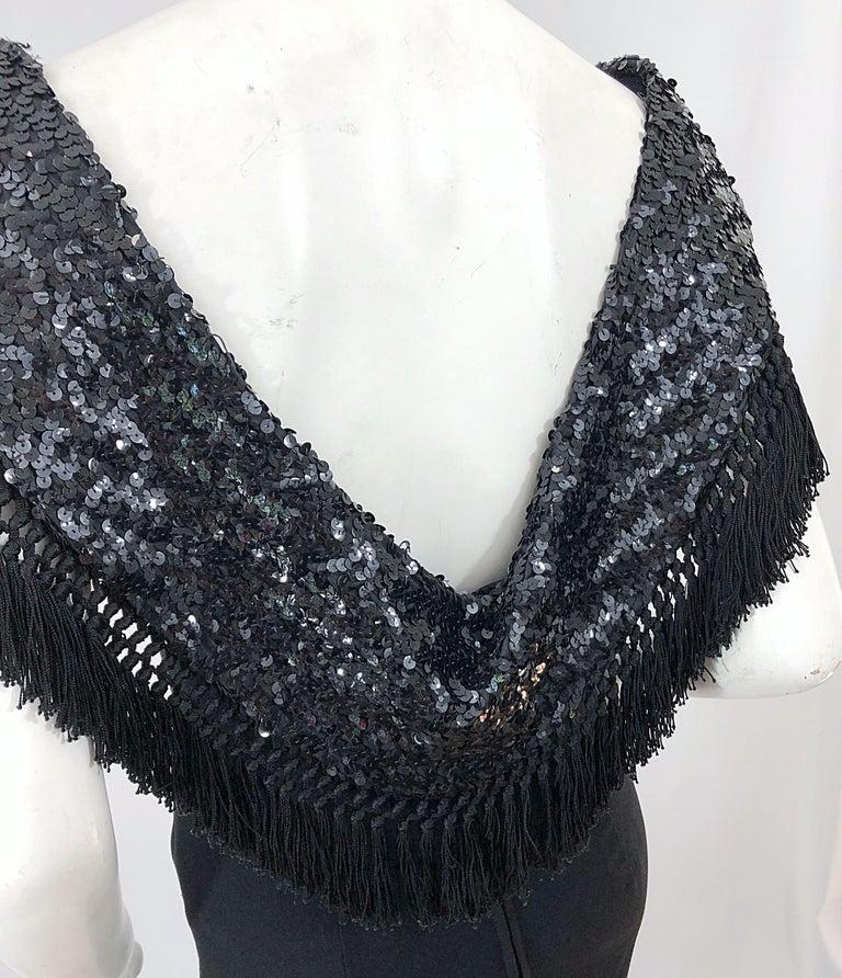 1950s Demi Couture Black Silk Crepe Dramatic Sequin Neck Fringe Vintage Dress For Sale 1