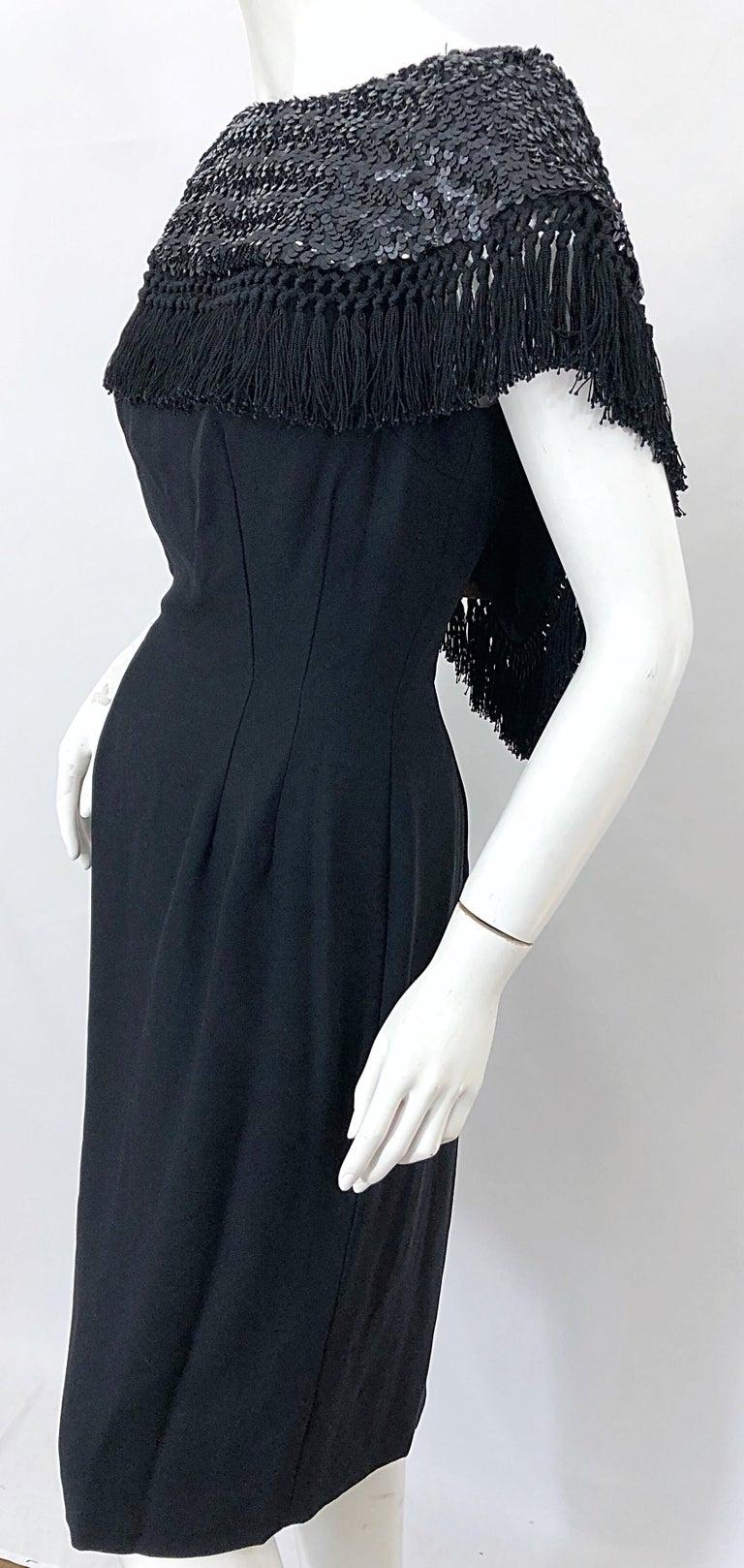 1950s Demi Couture Black Silk Crepe Dramatic Sequin Neck Fringe Vintage Dress For Sale 2
