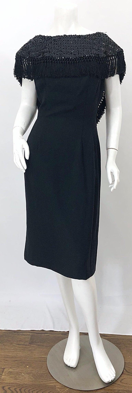 1950s Demi Couture Black Silk Crepe Dramatic Sequin Neck Fringe Vintage Dress For Sale 3