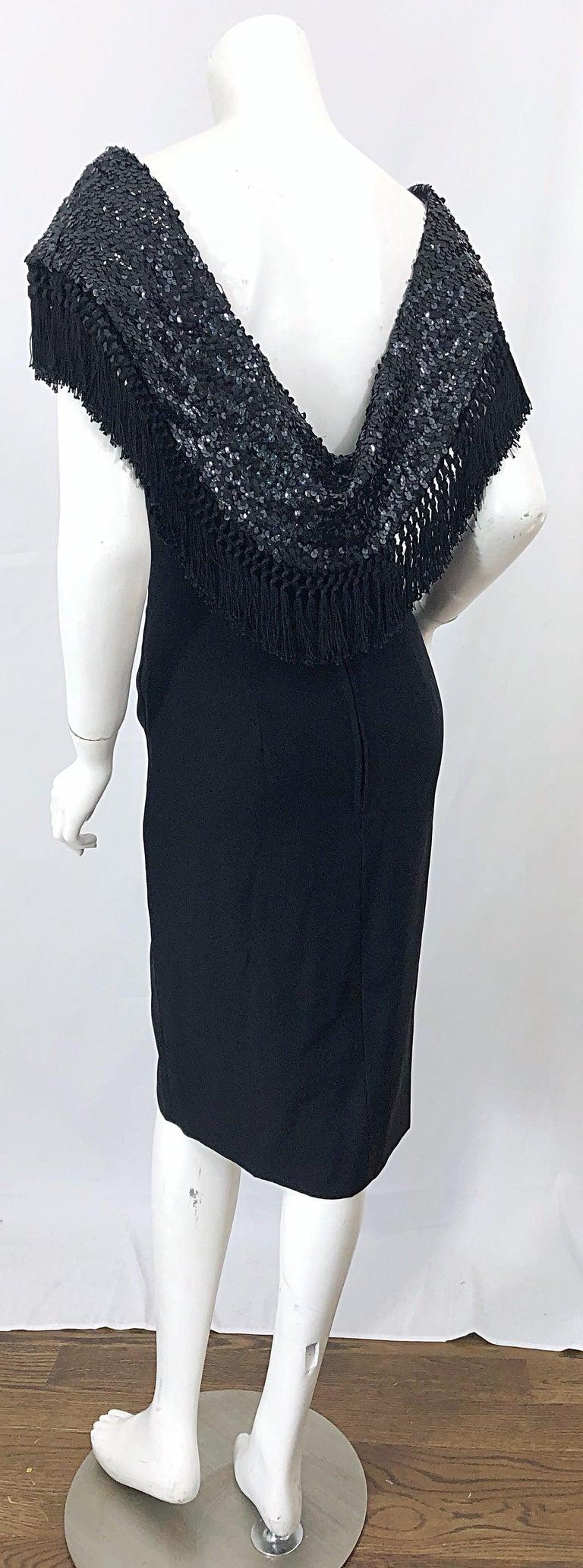 1950s Demi Couture Black Silk Crepe Dramatic Sequin Neck Fringe Vintage Dress For Sale 4