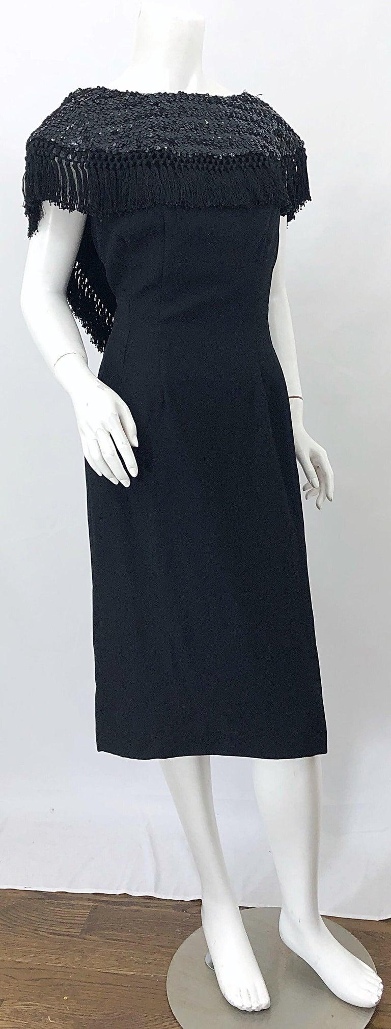 1950s Demi Couture Black Silk Crepe Dramatic Sequin Neck Fringe Vintage Dress For Sale 5