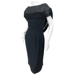 1950s Demi Couture Black Silk Crepe Dramatic Sequin Neck Fringe Vintage Dress