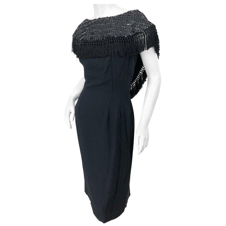 1950s Demi Couture Black Silk Crepe Dramatic Sequin Neck Fringe Vintage Dress For Sale