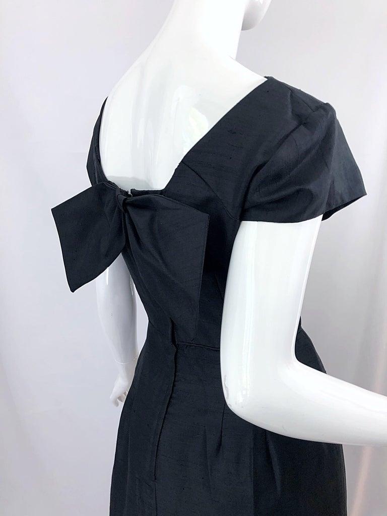 1950s Demi Couture Black Silk Cut - Out Chic Vintage 50s Cocktail Dress For Sale 6