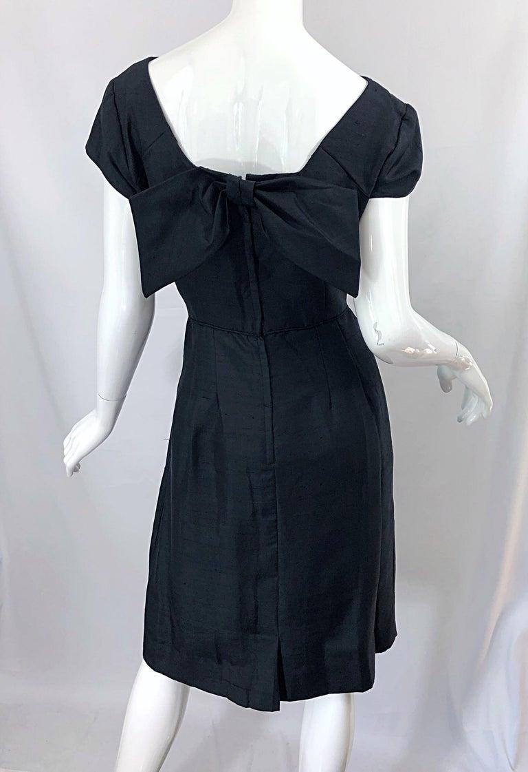 1950s Demi Couture Black Silk Cut - Out Chic Vintage 50s Cocktail Dress For Sale 7